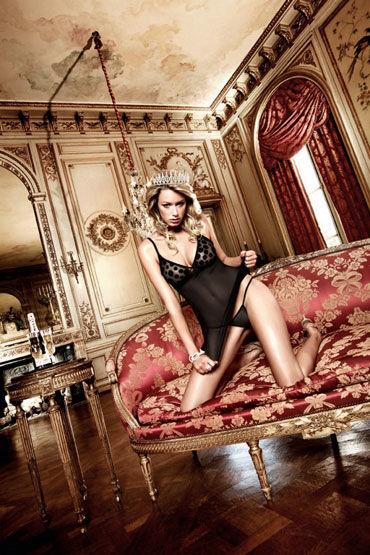 Baci мини-платье, черное В крупный горошек платьице have fun princess черное из узорчатой ткани с кружевным бюстье