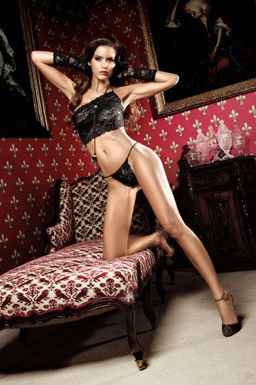 Baci комплект, черный Топ и стринги из роскошного кружева baci мини платье черно серебристое с завязками за шее и орнаментом