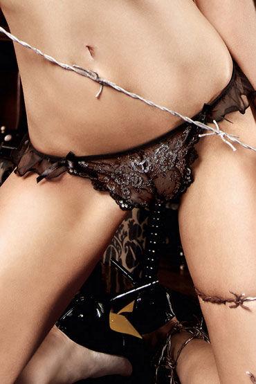 Baci стринги, черно-серебристые С орнаментом baci комплект черно бежевый
