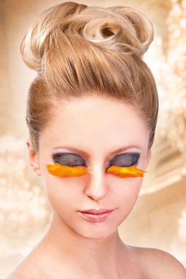 Baci Lashes, оранжевый Накладные ресницы с перьями когда одиноко парню цвет оранжевый фото