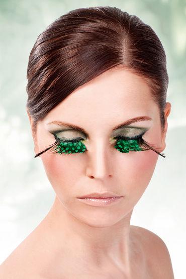 Baci Lashes, зелено-фиолетовый Накладные ресницы с перьями страпоны с креплениями цвет фиолетовый