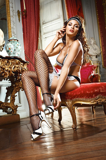 Baci Dreams Shiny French Maid Чулки в крупную сетку чулки baci lingerie laundry french maid высокие черные 42 46