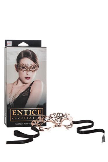 California Exotic Entice Mystique Mask, золотистая Элегантная никелевая маска со стразами california exotic platinum edition g kiss розовый вибратор для двойной стимуляции