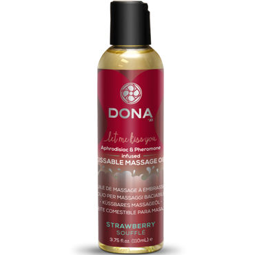 Dona Kissable Massage Oil Strawberry Souffle, 110 мл Ароматическое массажное масло клубника dona kissable massage candle chocolate mousse 135 г массажная свеча с ароматом шоколада