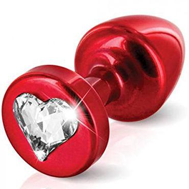 Diogol Anni Heart T1, красная Анальная пробка с кристаллом Swarovski в форме сердца anni round t1 анальная пробка красная в коробочке