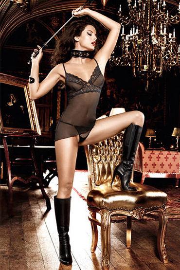 Baci комплект, черный Кружевная мини-сорочка и трусики маска baci lingerie со стразами masq midnight черная