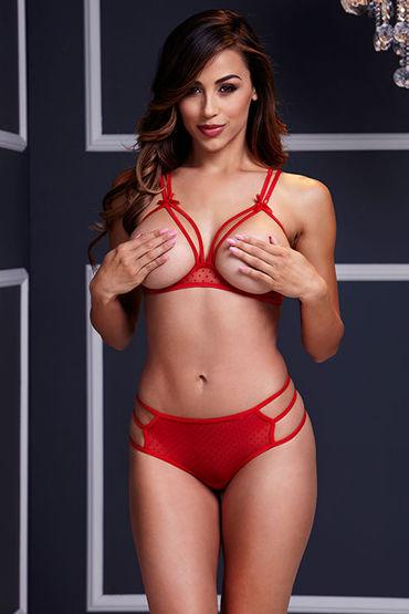 Baci Комплект белья, красный Бюстгальтер с открытой грудью и трусики анальный стимулятор small ripple plug black