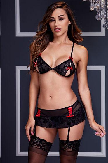 Baci Откровенный набор, черный Из бюста и прозрачной юбочки л пояса верности цвет красный
