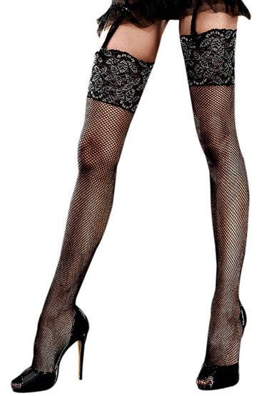 Baci Чулки в мелкую сетку, черные С кружевной отделкой чулки baci lingerie obedient slave высокие черные 42 46