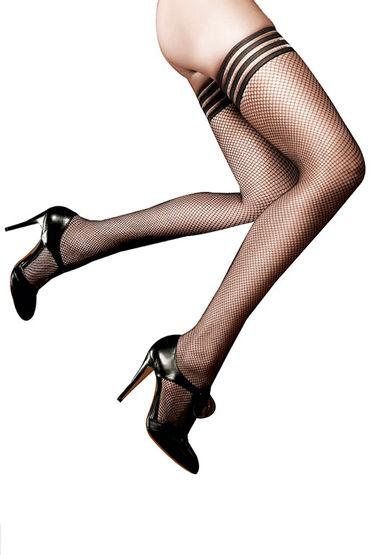 Baci Чулки в мелкую сетку, черные С отделкой полосками чулки baci lingerie obedient slave высокие черные 42 46