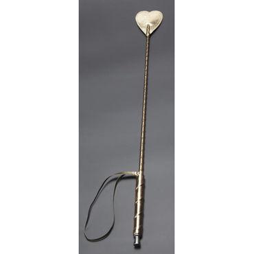 Sitabella Стек с сердечком, золотистый С жесткой рукояткой стек sitabella в форме ладони с рукояткой фаллосом – черный