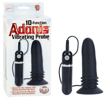 California Exotic 10-Function Adonis Vibrating Probes, черная Анальная пробка с вибрацией kiss me pink leopard леопардовая комбинация и стринги