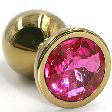 Kanikule Большая анальная пробка, золотая С розовым кристаллом согревающие смазки kanikule extender cap