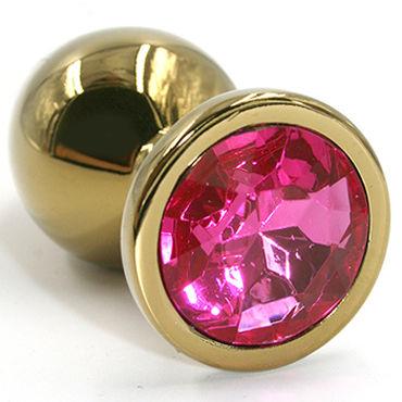 Kanikule Малая анальная пробка, золотая С темно-розовым кристаллом согревающие смазки kanikule extender cap