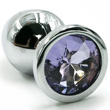 Kanikule Средняя анальная пробка, серебристая Со светло-фиолетовым кристаллом kanikule малая анальная пробка серебристая с синей сферой в основании
