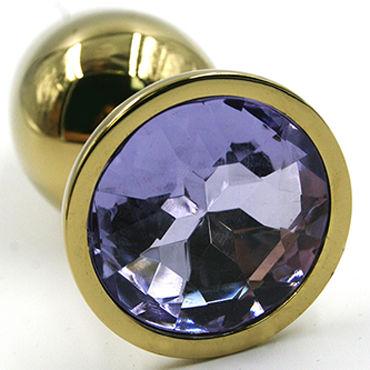 Kanikule Малая анальная пробка, золотая Со светло-фиолетовым кристаллом kanikule малая анальная пробка серебристая с синей сферой в основании