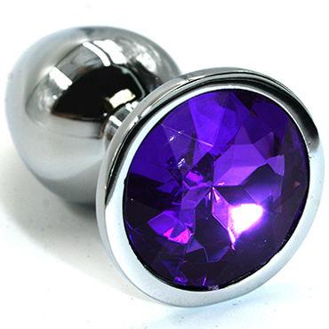Kanikule Средняя анальная пробка, серебристая С темно-фиолетовым кристаллом kanikule большая анальная пробка серебристая с темно синим кристаллом