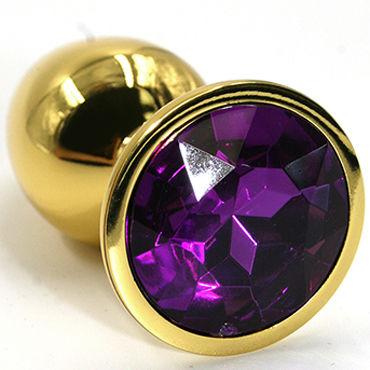 Kanikule Средняя анальная пробка, золотая С темно-фиолетовым кристаллом пикантные штучки большая анальная пробка серебристая с фиолетовым кристаллом