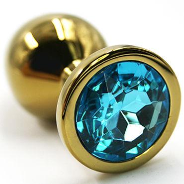 Kanikule Малая анальная пробка, золотая С голубым кристаллом kanikule малая анальная пробка золотая с прозрачным кристаллом