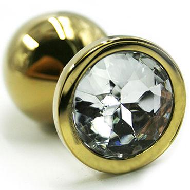 Kanikule Средняя анальная пробка, золотая С прозрачным кристаллом kanikule малая анальная пробка золотая с прозрачным кристаллом