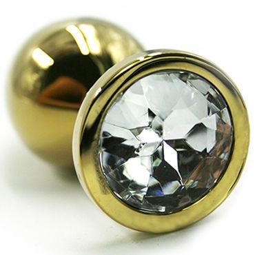 Kanikule Малая анальная пробка, золотая С прозрачным кристаллом kanikule малая анальная пробка золотая с радужным кристаллом