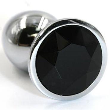 Kanikule Большая анальная пробка, серебристая С черным кристаллом kanikule большая анальная пробка серебристая с темно синим кристаллом