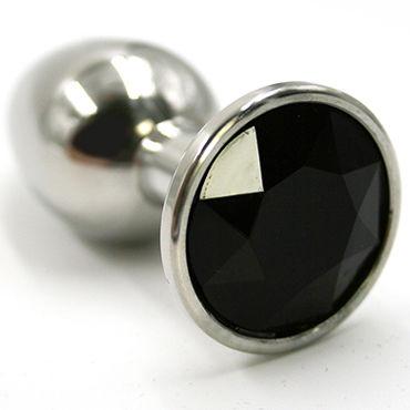Kanikule Средняя анальная пробка, серебристая С черным кристаллом kanikule средняя анальная пробка розовая с черным кристаллом