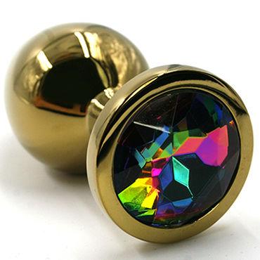 Kanikule Средняя анальная пробка, золотая С радужным кристаллом kanikule малая анальная пробка золотая с радужным кристаллом