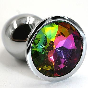 Kanikule Малая анальная пробка, серебристая С радужным кристаллом kanikule малая анальная пробка золотая с радужным кристаллом