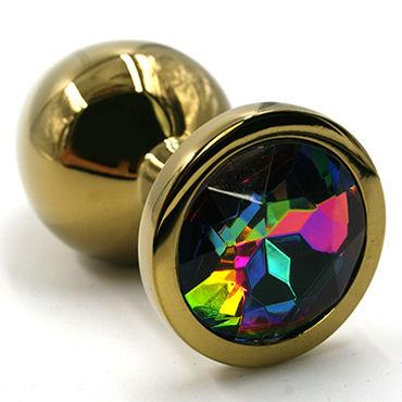 Kanikule Малая анальная пробка, золотая С радужным кристаллом kanikule малая анальная пробка серебристая с синей сферой в основании