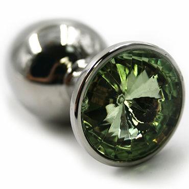 Kanikule Большая анальная пробка, серебристая Со светло-зеленым кристаллом kanikule большая анальная пробка серебристая с темно синим кристаллом