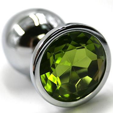 Kanikule Средняя анальная пробка, серебристая Со светло-зеленым кристаллом kanikule малая анальная пробка серебристая с синей сферой в основании