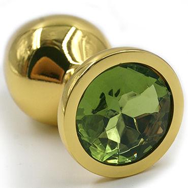 Kanikule Малая анальная пробка, золотая Со светло-зеленым кристаллом kanikule малая анальная пробка золотая с прозрачным кристаллом