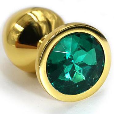 Kanikule Средняя анальная пробка, золотая С темно-зеленым кристаллом kanikule большая анальная пробка золотая с красным кристаллом