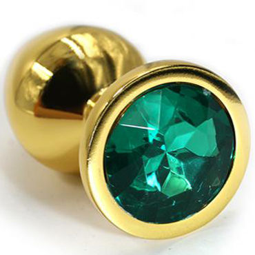 Kanikule Малая анальная пробка, золотая С темно-зеленым кристаллом kanikule малая анальная пробка золотая с прозрачным кристаллом