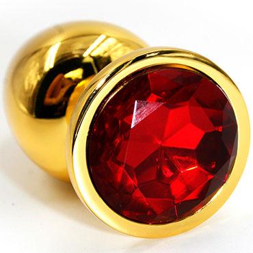 Kanikule Средняя анальная пробка, золотая С красным кристаллом kanikule большая анальная пробка золотая с красным кристаллом