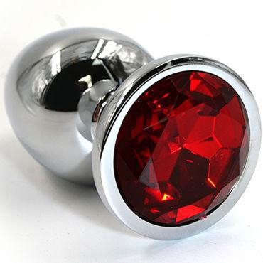 Kanikule Малая анальная пробка, серебристая С красным кристаллом kanikule малая анальная пробка серебристая с синей сферой в основании