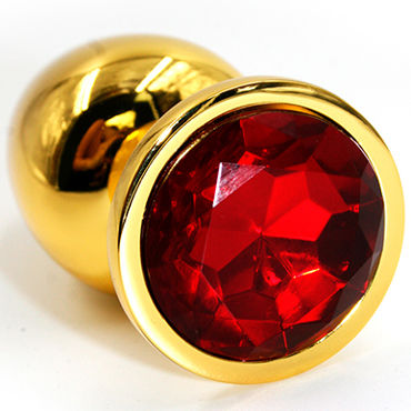 Kanikule Малая анальная пробка, золотая С красным кристаллом kanikule малая анальная пробка золотая с прозрачным кристаллом