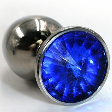Kanikule Большая анальная пробка, серебристая С темно-синим кристаллом kanikule большая анальная пробка серебристая с темно синим кристаллом