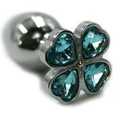 Kanikule Малая анальная пробка, серебристая С голубым кристаллом в форме четырёхлистного клевера kanikule малая анальная пробка серебристая с синей сферой в основании