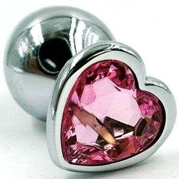 Kanikule Малая анальная пробка, серебристая Со светло-розовым кристаллом в форме сердца kanikule малая анальная пробка серебристая с синей сферой в основании