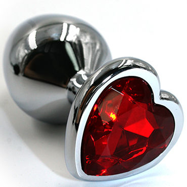 Kanikule Малая анальная пробка, серебристая С красным кристаллом в форме сердца наручники obsessive roseberry cuffs