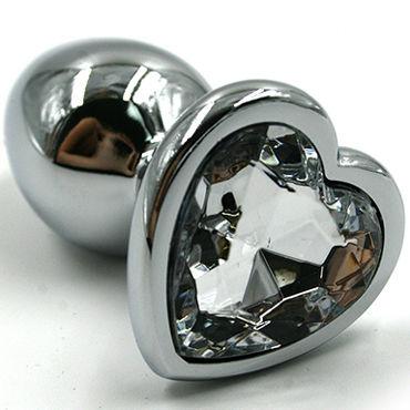 Kanikule Малая анальная пробка, серебристая С прозрачным кристаллом в форме сердца kanikule малая анальная пробка золотая с прозрачным кристаллом