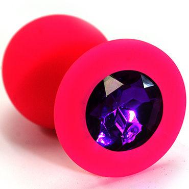 Kanikule Средняя анальная пробка, розовая С темно-фиолетовым кристаллом kanikule средняя анальная пробка розовая с черным кристаллом