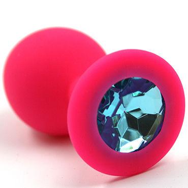 Kanikule Средняя анальная пробка, розовая С голубым кристаллом kanikule средняя анальная пробка розовая с черным кристаллом