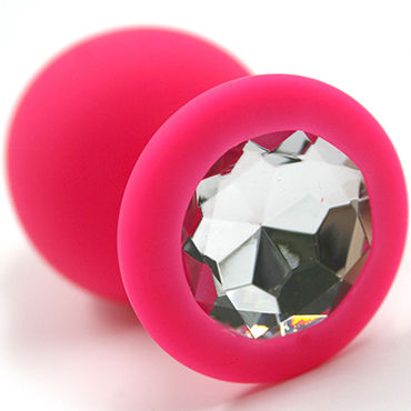 Kanikule Большая анальная пробка, розовая С прозрачным кристаллом baile botty passion