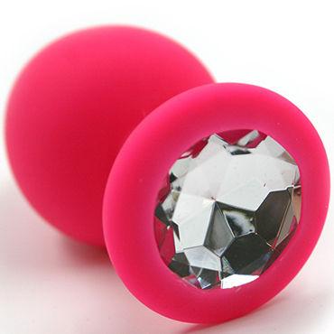Kanikule Средняя анальная пробка, розовая С прозрачным кристаллом lola toys back door flexible wand черная гибкая анальная цепочка