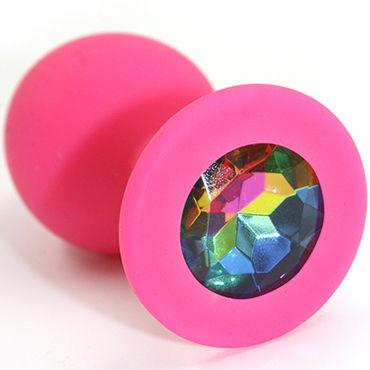 Kanikule Средняя анальная пробка, розовая С радужным кристаллом kanikule средняя анальная пробка розовая с черным кристаллом