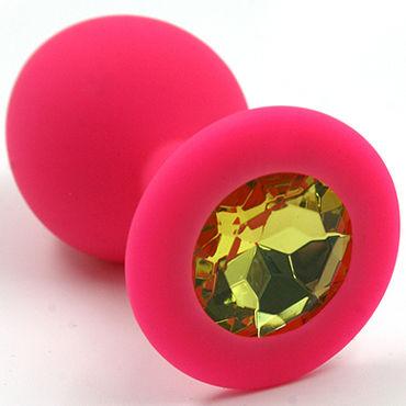 Kanikule Средняя анальная пробка, розовая Со светло-желтым кристаллом kanikule средняя анальная пробка розовая с черным кристаллом