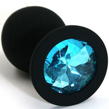 Kanikule Средняя анальная пробка, черная С голубым кристаллом портупея angel black